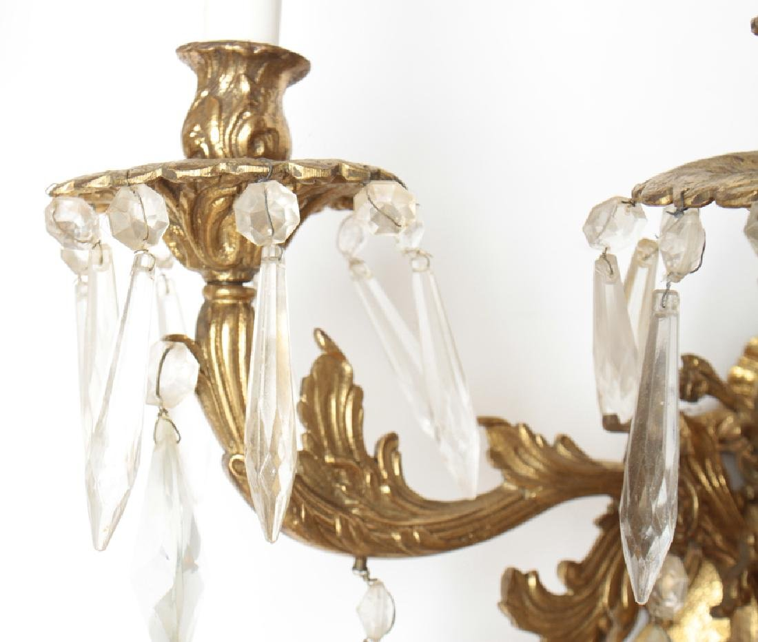 PAIR BRONZE CRYSTAL 3 ARM ROCOCO STYLE SCONCES - 3