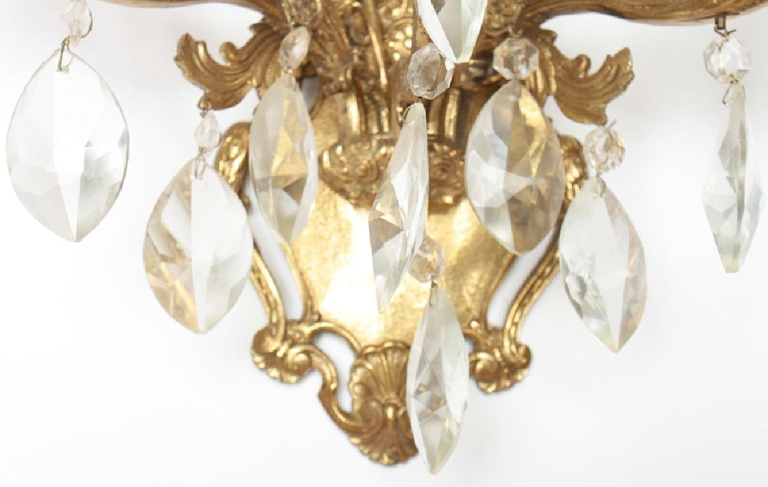 PAIR BRONZE CRYSTAL 3 ARM ROCOCO STYLE SCONCES - 4