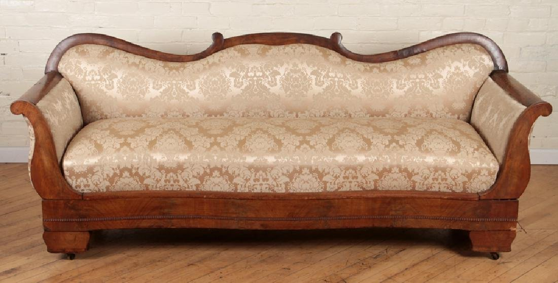 EMPIRE STYLE CARVED WALNUT SOFA CIRCA 1850 - 2