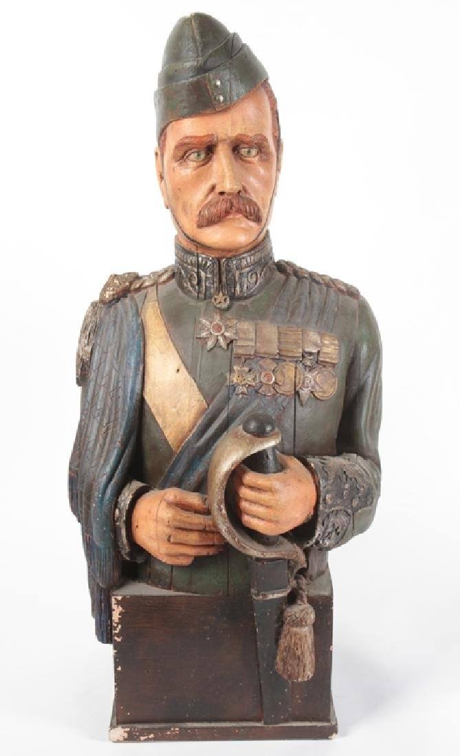 POLYCHROMED PLASTER BUST MILITARY FIGURE C.1950