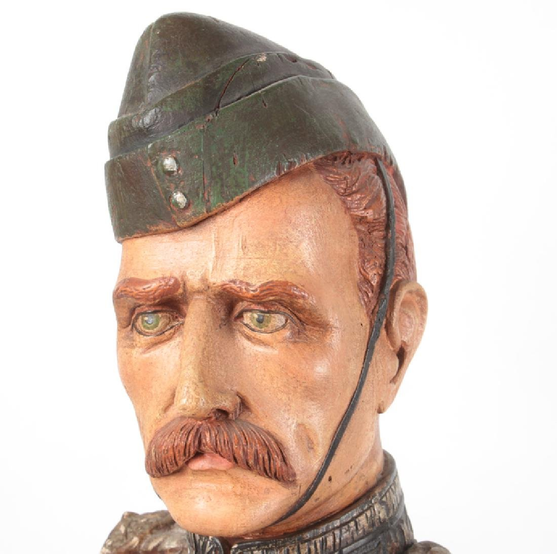 POLYCHROMED PLASTER BUST MILITARY FIGURE C.1950 - 2
