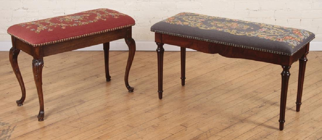 PAIR NEEDLEPOINT FLORAL BENCHES WITH LIFT TOP