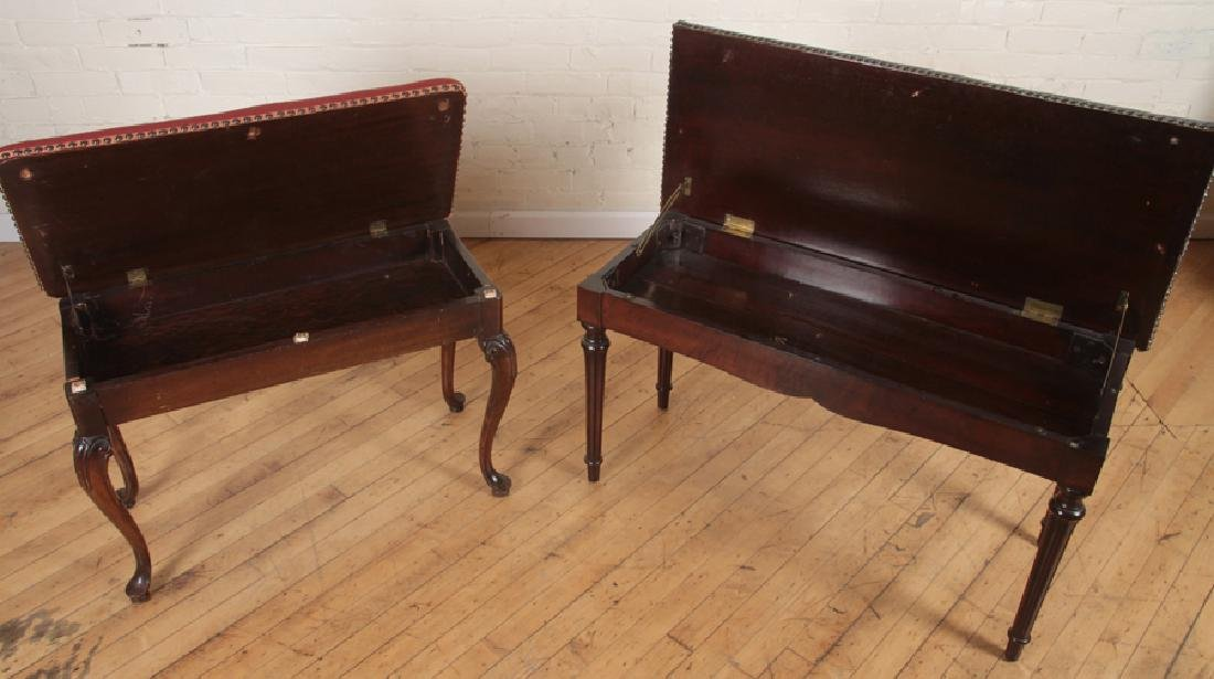 PAIR NEEDLEPOINT FLORAL BENCHES WITH LIFT TOP - 2