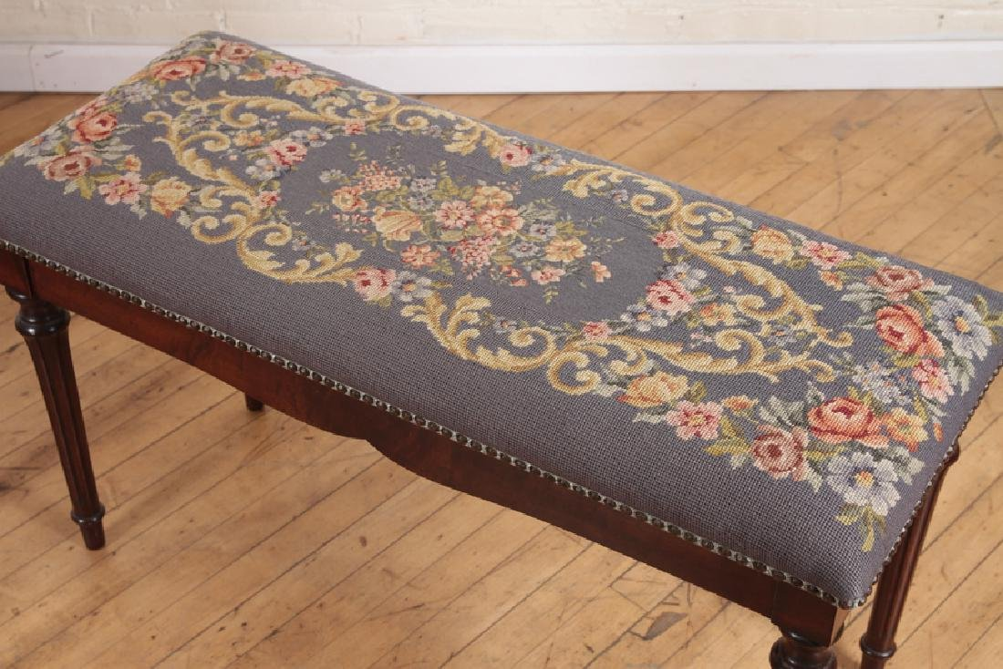 PAIR NEEDLEPOINT FLORAL BENCHES WITH LIFT TOP - 4