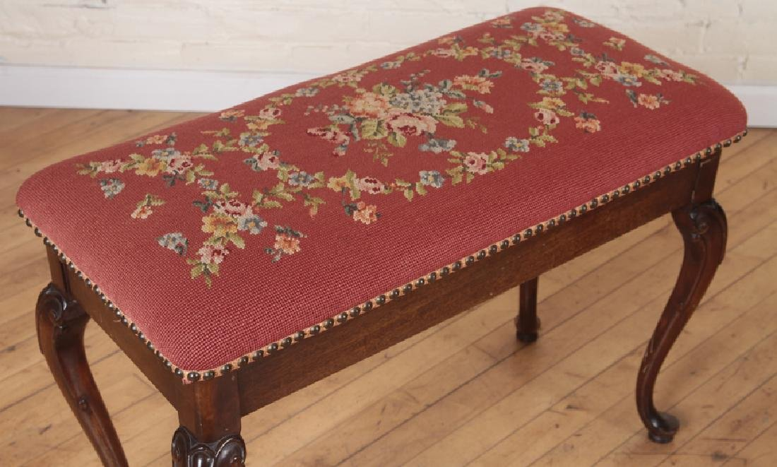 PAIR NEEDLEPOINT FLORAL BENCHES WITH LIFT TOP - 6