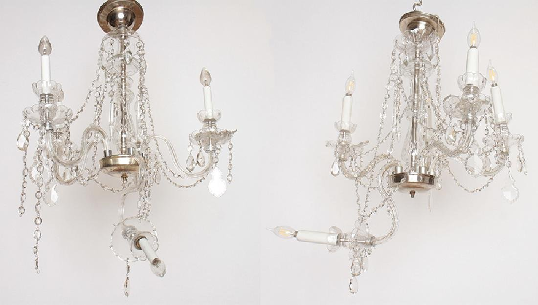 PAIR CRYSTAL POLISHED CHROME CHANDELIERS C.1930