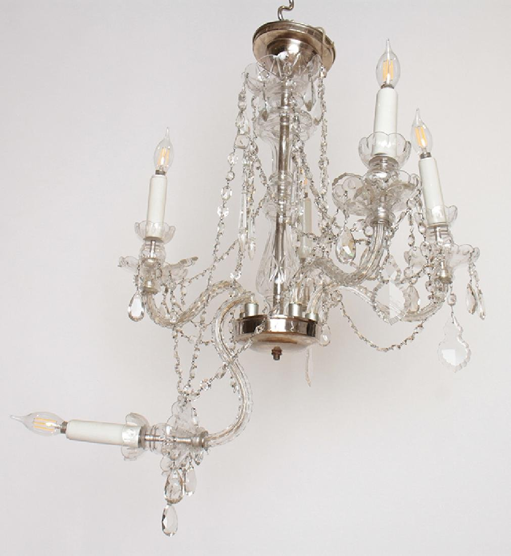 PAIR CRYSTAL POLISHED CHROME CHANDELIERS C.1930 - 2