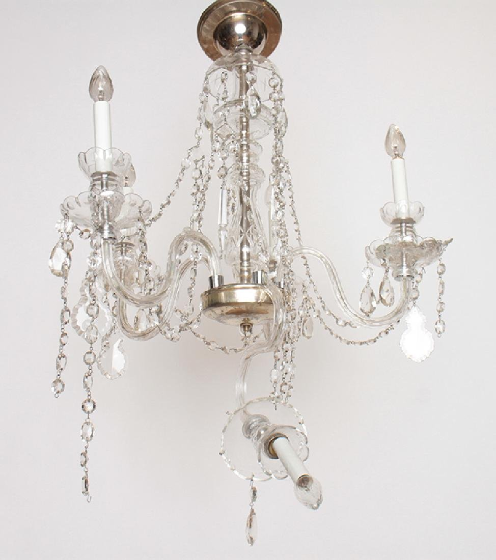 PAIR CRYSTAL POLISHED CHROME CHANDELIERS C.1930 - 4
