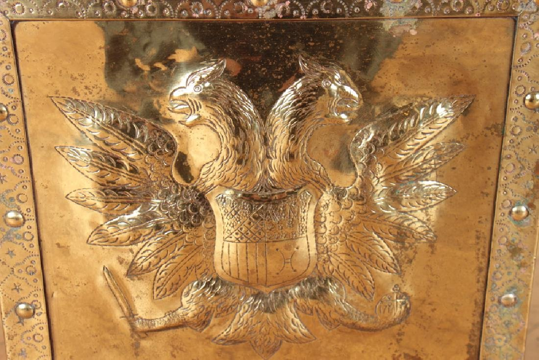 BRASS CELLARETTE DOUBLE HEADED EAGLE CIRCA 1900 - 3