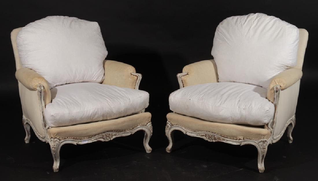PAIR OF LOUIS XV STYLE BERGERE CHAIRS C.1900