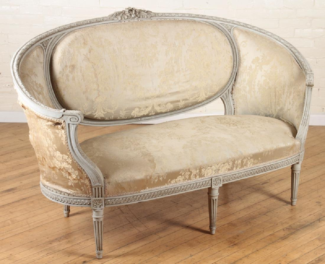 LOUIS XVI STYLE CURVED BACK SOFA C. 1920 - 2
