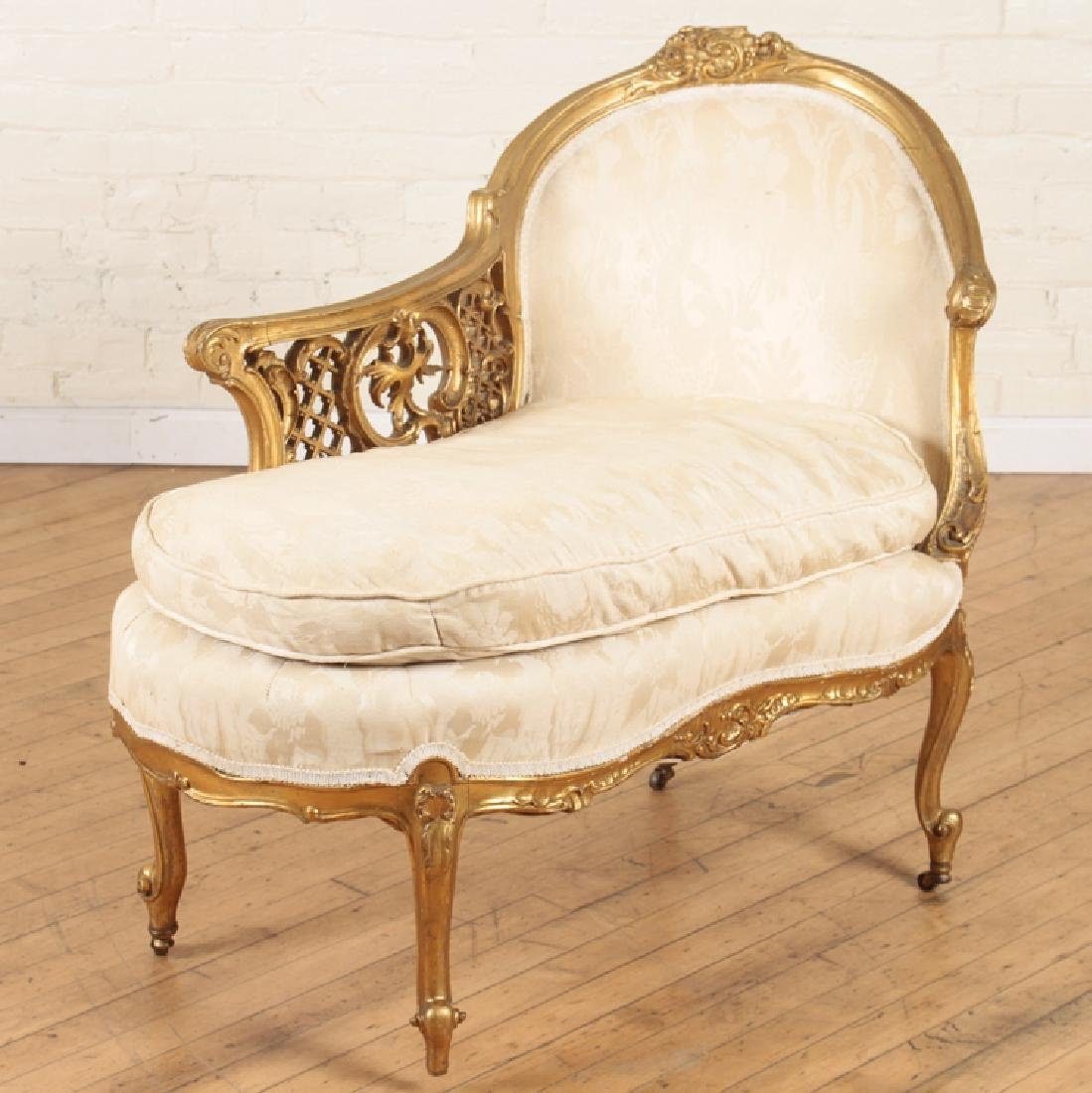19TH CENT. GILTWOOD CARVED LOUIS XV CHAISE LOUNGE - 2