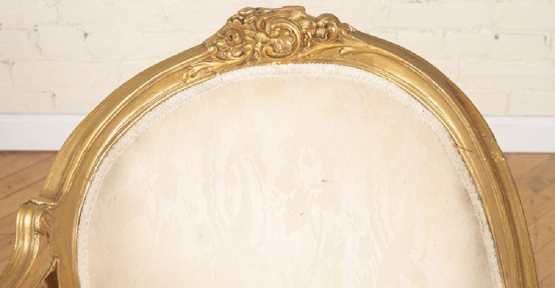 19TH CENT. GILTWOOD CARVED LOUIS XV CHAISE LOUNGE - 3