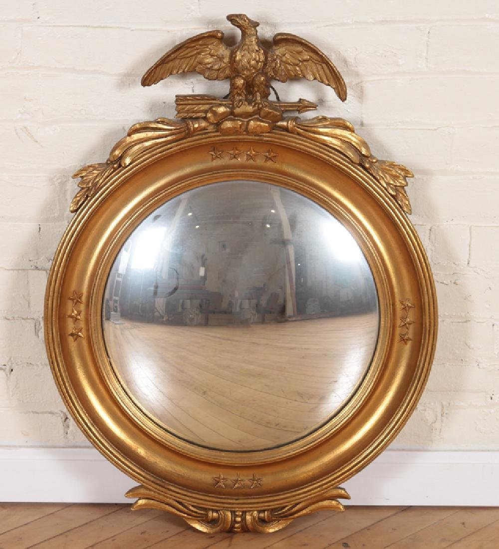 AMERICAN FEDERAL STYLE GILT WOOD CONVEX MIRROR