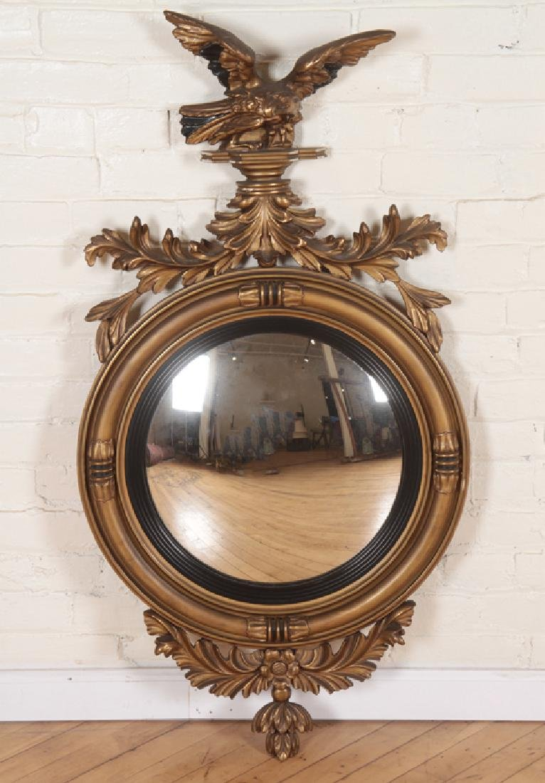 FEDERAL STYLE GILT WOOD CARVED CONVEX MIRROR