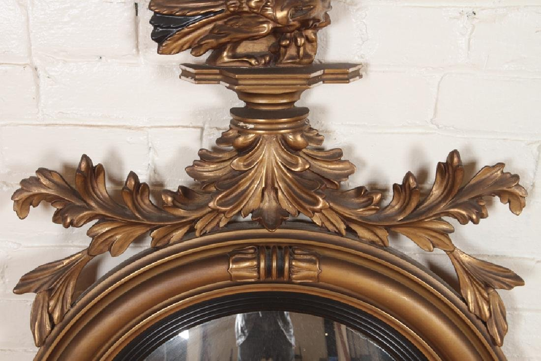 FEDERAL STYLE GILT WOOD CARVED CONVEX MIRROR - 3