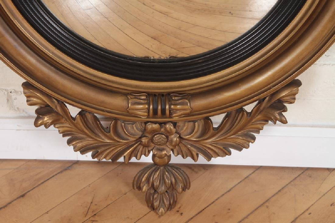 FEDERAL STYLE GILT WOOD CARVED CONVEX MIRROR - 4