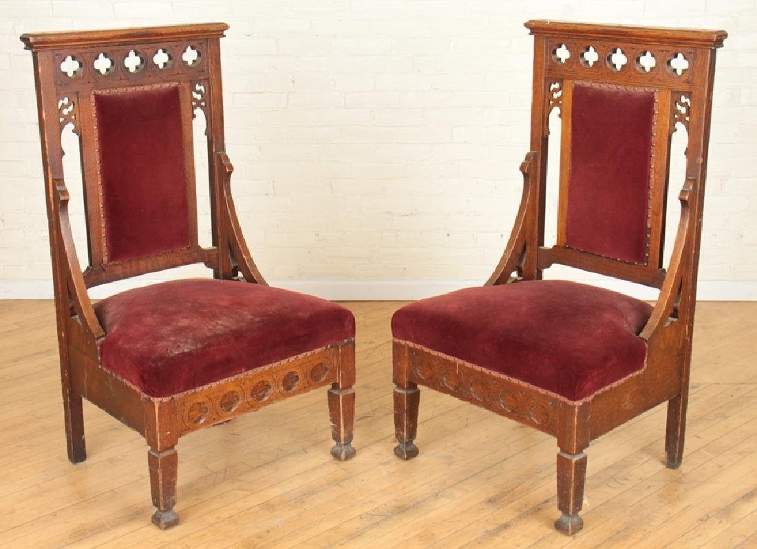 PAIR GOTHIC STYLE OAK CHAIRS CARVED BACKS