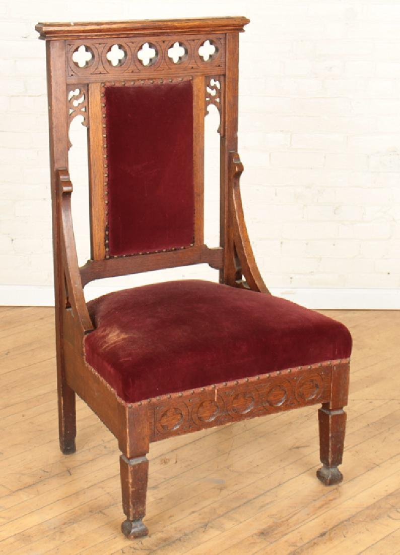 PAIR GOTHIC STYLE OAK CHAIRS CARVED BACKS - 2