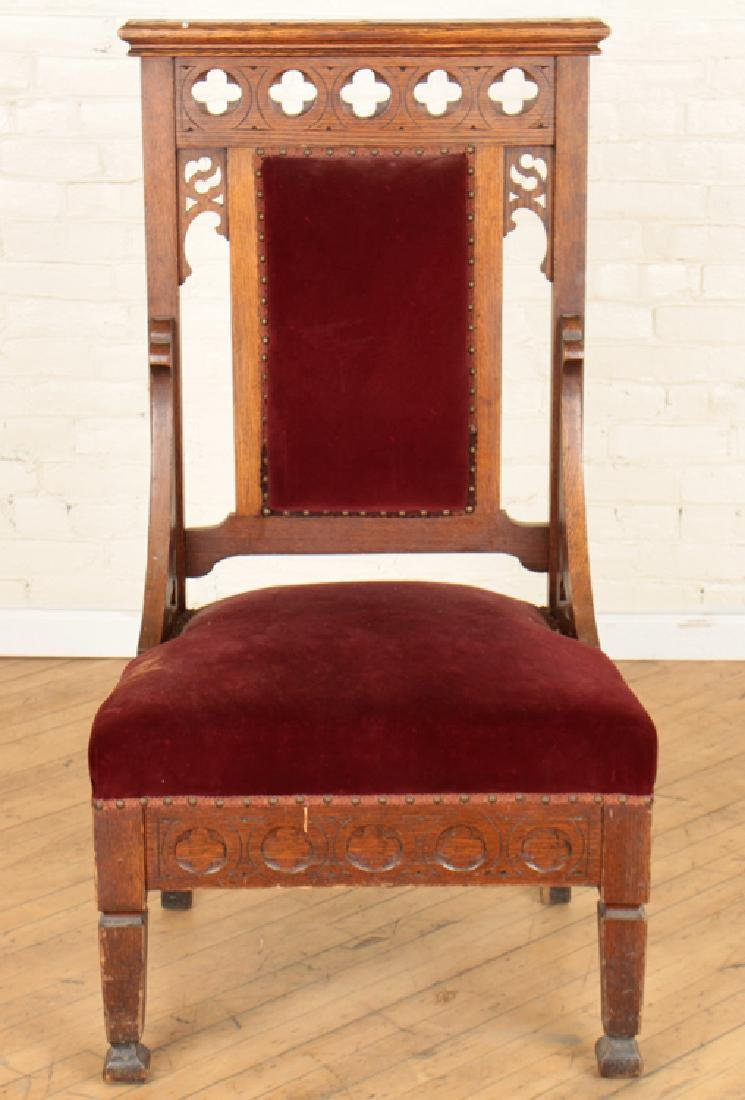 PAIR GOTHIC STYLE OAK CHAIRS CARVED BACKS - 3
