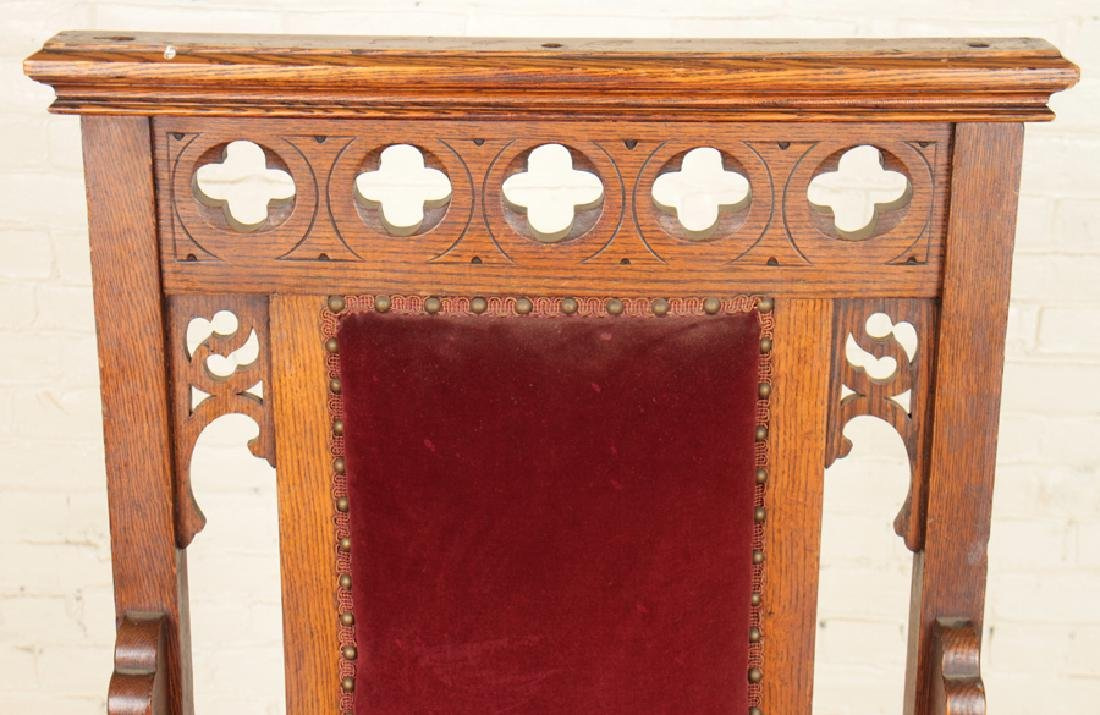 PAIR GOTHIC STYLE OAK CHAIRS CARVED BACKS - 4