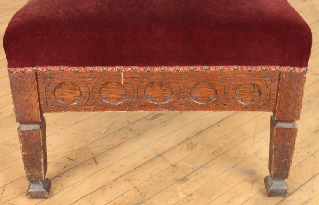 PAIR GOTHIC STYLE OAK CHAIRS CARVED BACKS - 6