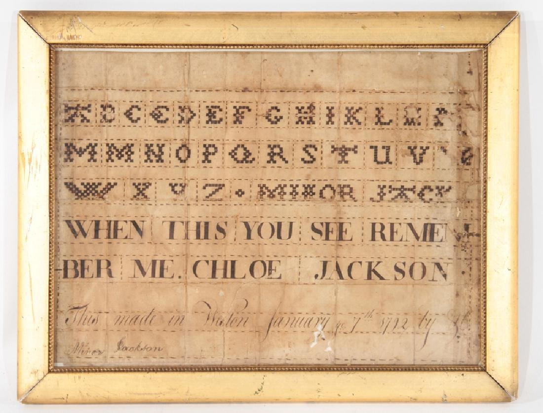 FAUX SAMPLER IN CALLIGRAPHY DATED AND SIGNED 1792