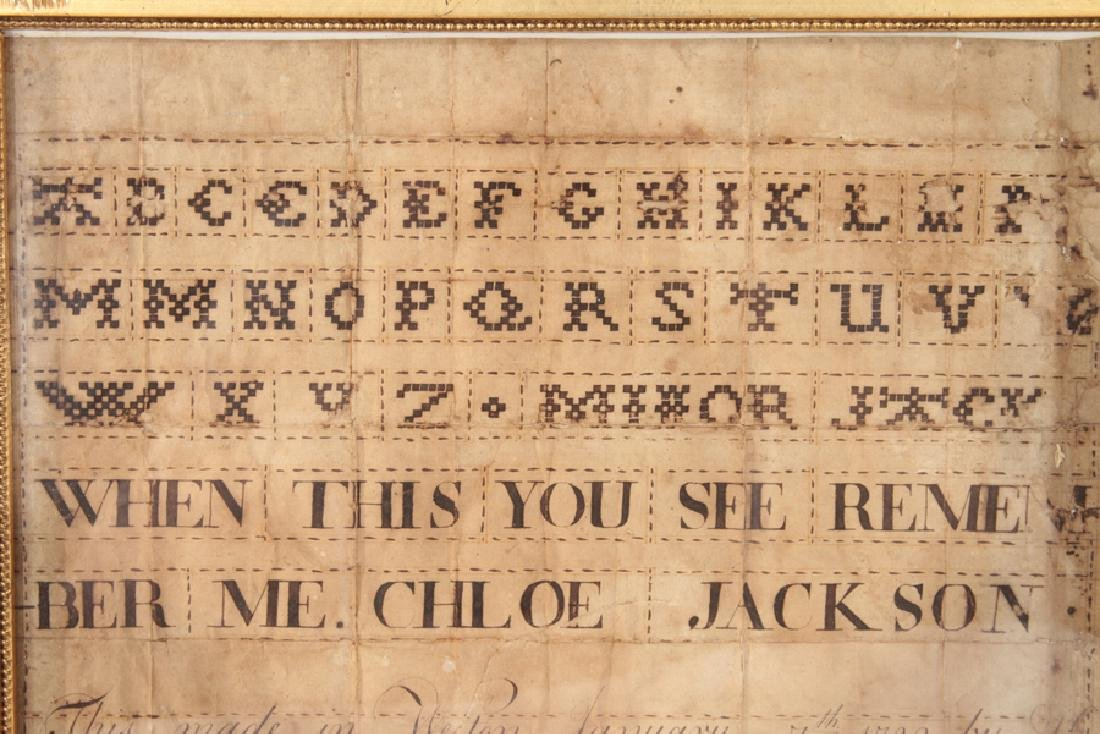 FAUX SAMPLER IN CALLIGRAPHY DATED AND SIGNED 1792 - 2