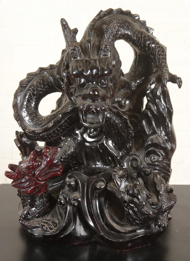 ELABORATE CHINESE DRAGON FIGURAL GROUP