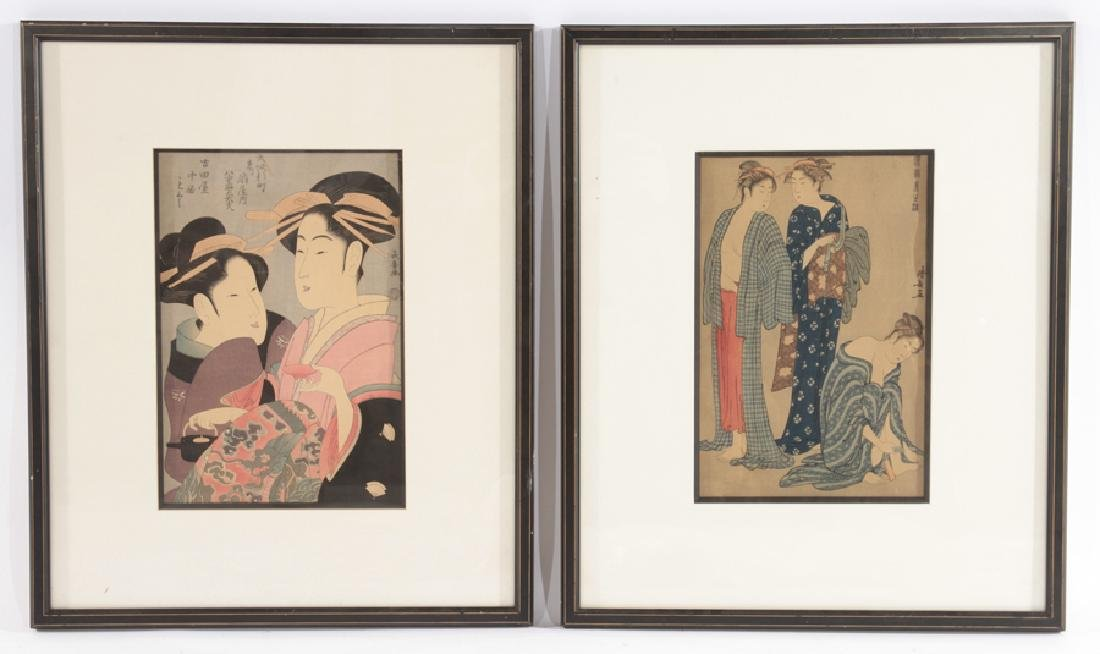 PAIR OF ANTIQUE JAPANESE WOODBLOCK PRINTS SCRIPT