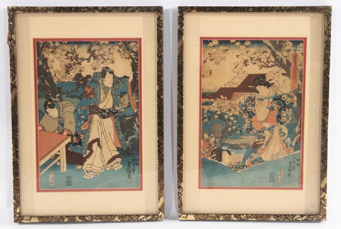 PAIR OF ANTIQUE JAPANESE WOODBLOCK PRINTS