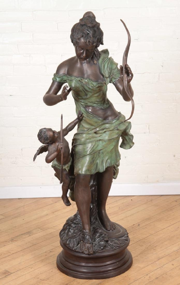 VERY LARGE SIGNED TWO TONE BRONZE WOMAN WITH BOW
