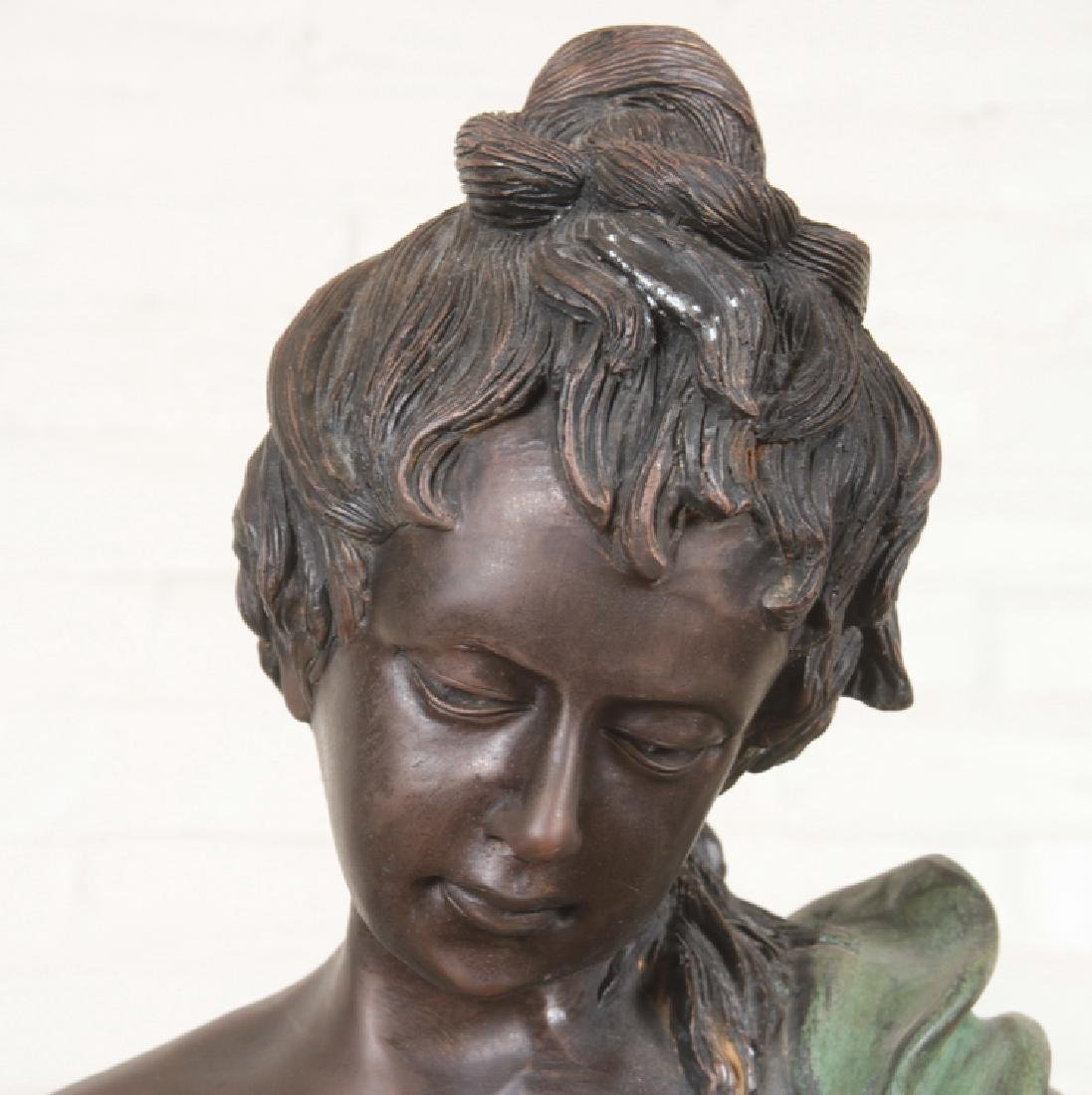 VERY LARGE SIGNED TWO TONE BRONZE WOMAN WITH BOW - 2