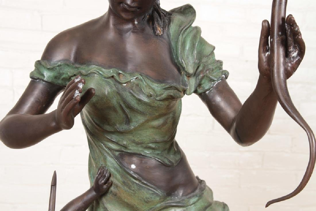 VERY LARGE SIGNED TWO TONE BRONZE WOMAN WITH BOW - 3