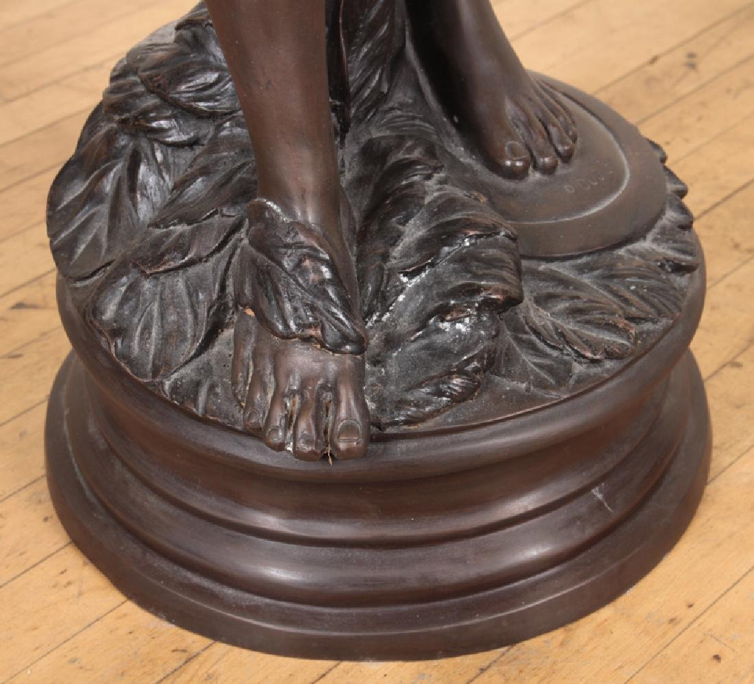 VERY LARGE SIGNED TWO TONE BRONZE WOMAN WITH BOW - 5