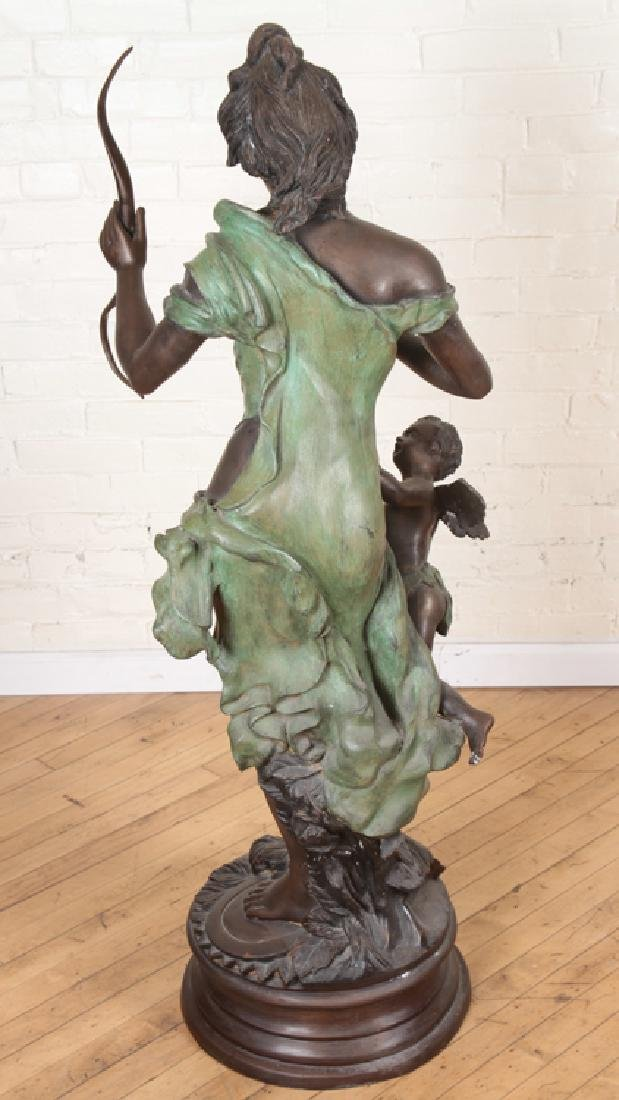 VERY LARGE SIGNED TWO TONE BRONZE WOMAN WITH BOW - 7