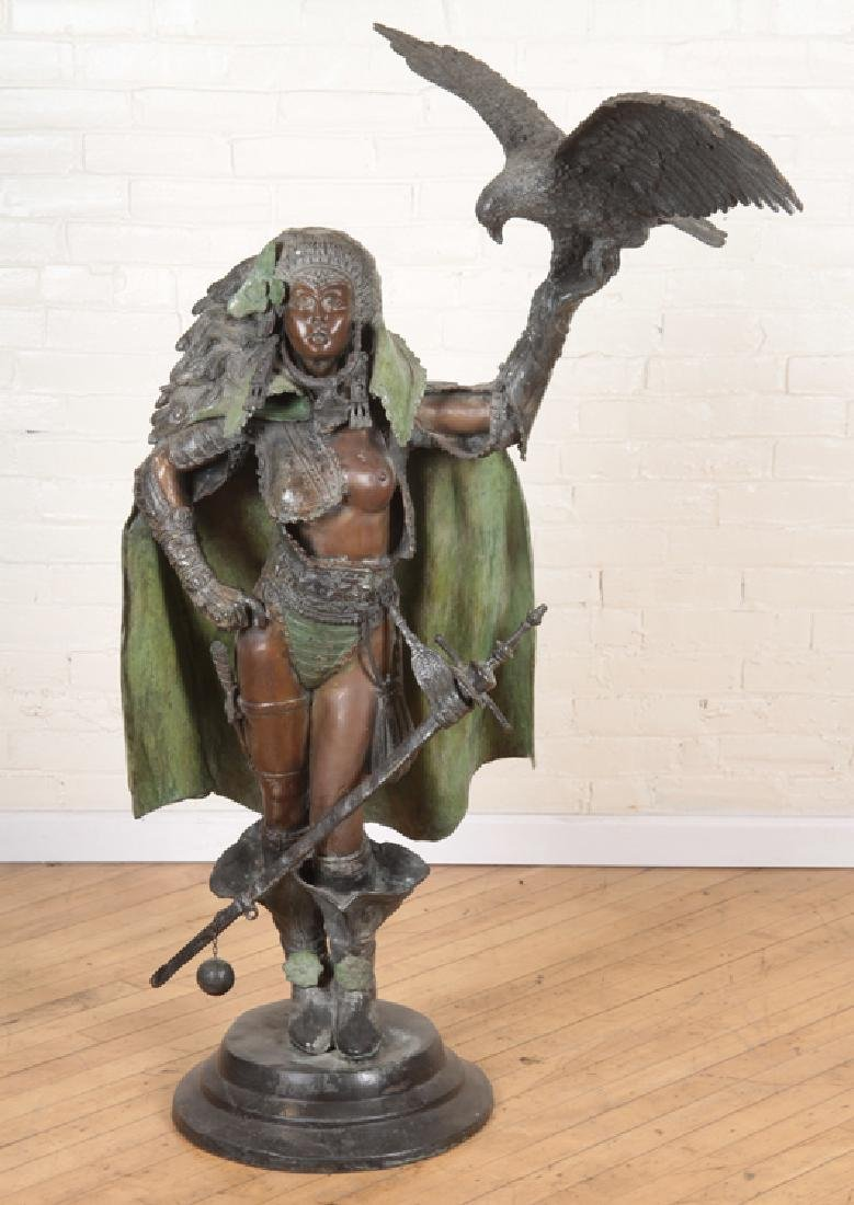 LARGE TWO TONE BRONZE WARRIOR PRINCESS AND HAWK
