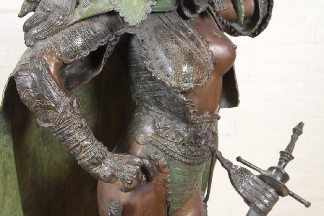 LARGE TWO TONE BRONZE WARRIOR PRINCESS AND HAWK - 4