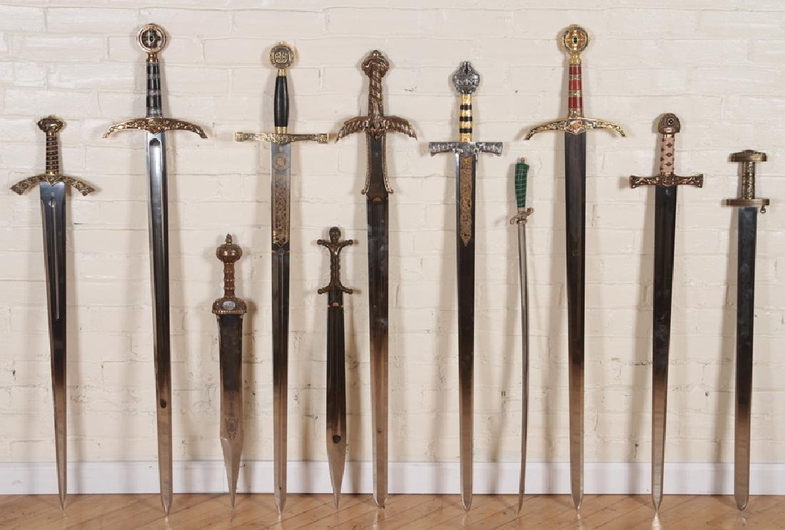 GROUPING OF 12 DECORATIVE SPANISH MADE SWORDS