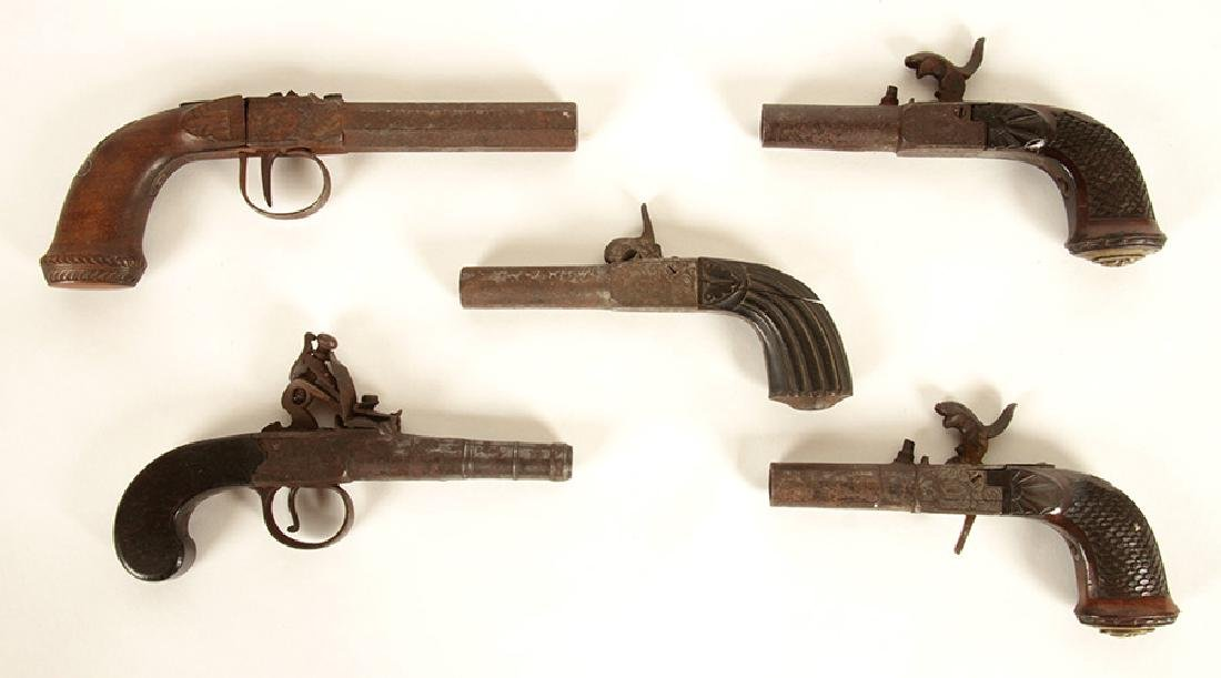 GROUP OF 5 17TH-18TH CENTURY PISTOLS