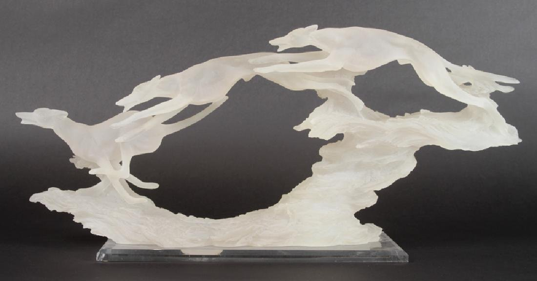 ART DECO STYLE STATUE OF GREYHOUNDS IN LUCITE
