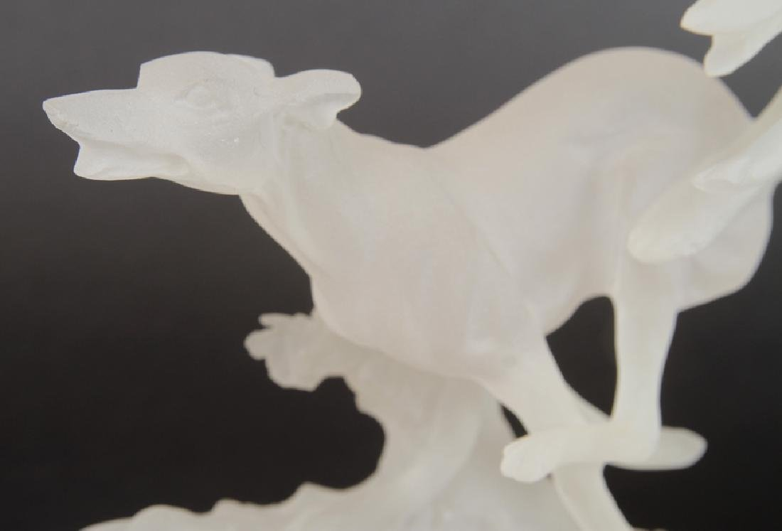 ART DECO STYLE STATUE OF GREYHOUNDS IN LUCITE - 4