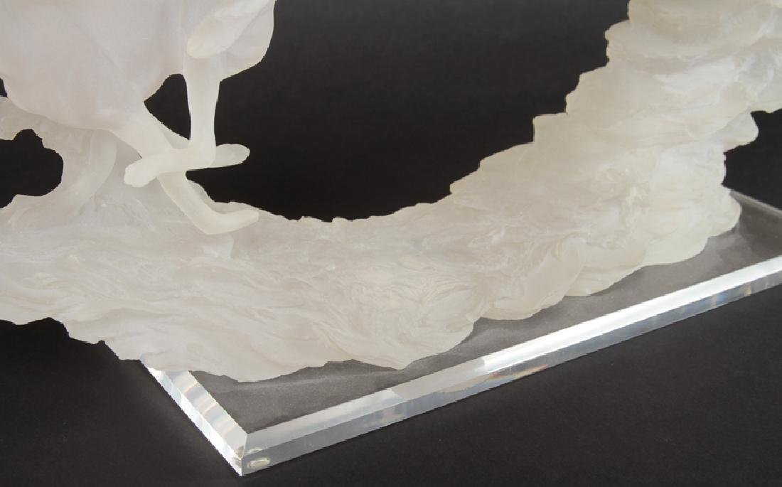 ART DECO STYLE STATUE OF GREYHOUNDS IN LUCITE - 5