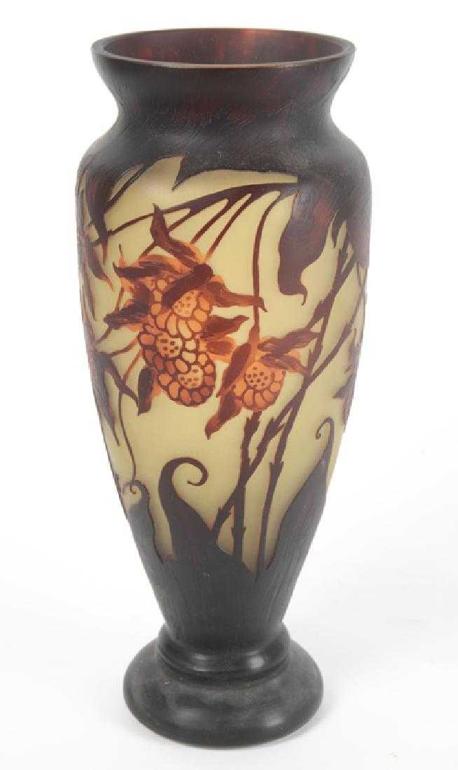 Large Galle Style Cameo Glass Vase