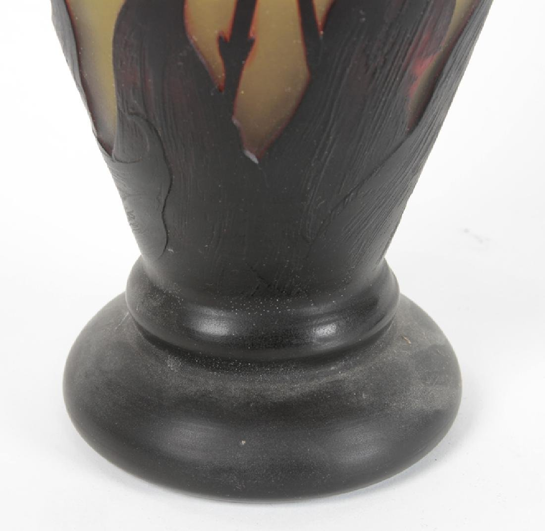 LARGE GALLE STYLE CAMEO GLASS VASE - 5