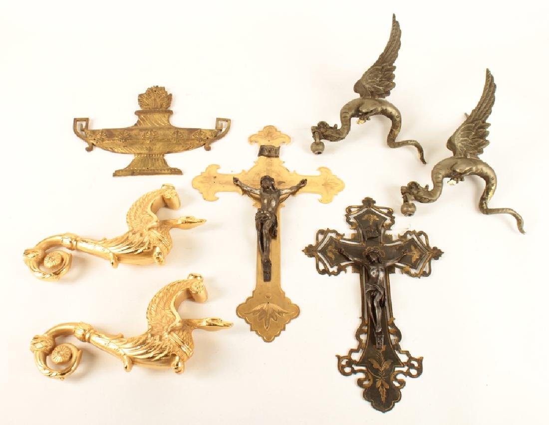 MIXED LOT 7 BRASS AND BRONZE ITEMS CIRCA 1900