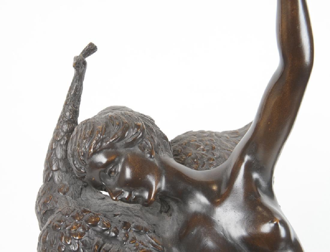 ART NOUVEAU STYLE BRONZE GLASS LAMP FEMALE NUDE - 2