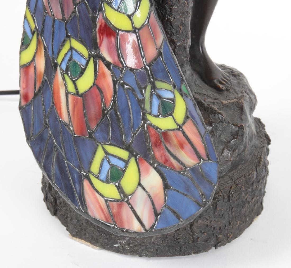 ART NOUVEAU STYLE BRONZE GLASS LAMP FEMALE NUDE - 4