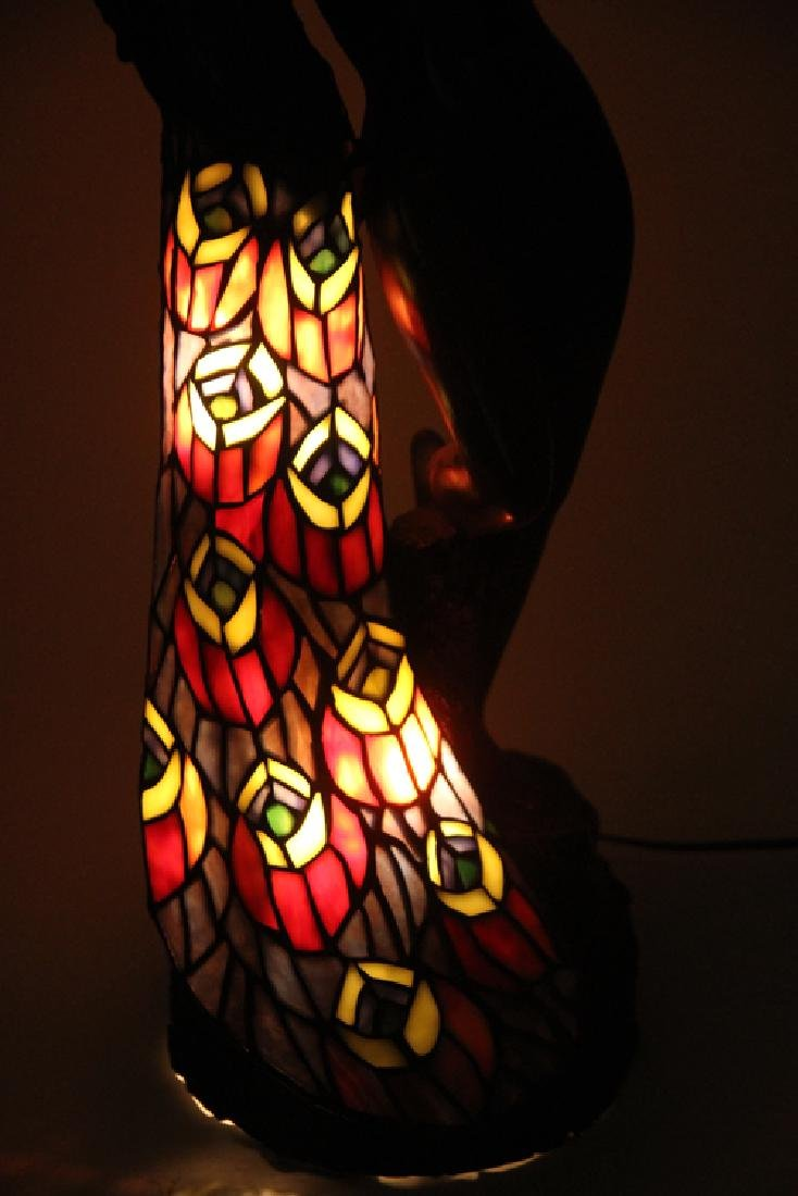 ART NOUVEAU STYLE BRONZE GLASS LAMP FEMALE NUDE - 6