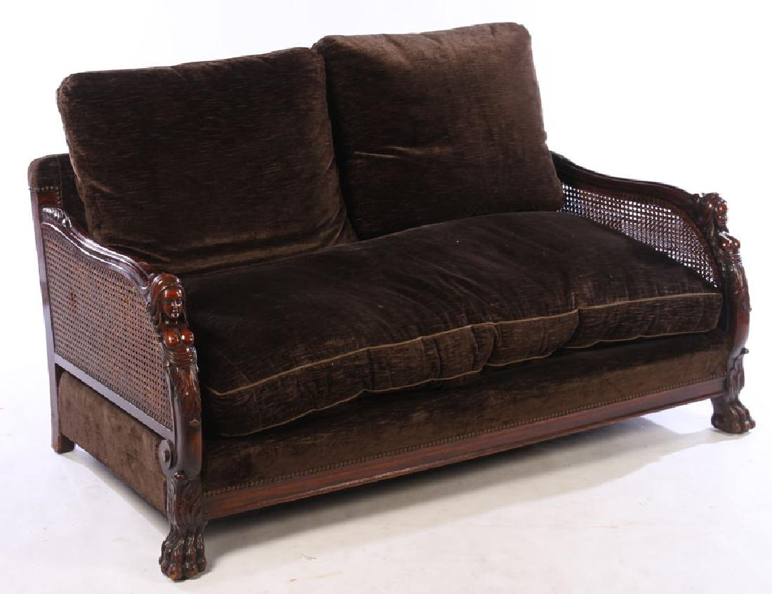 FIGURAL CARVED WALNUT SETTEE 1910